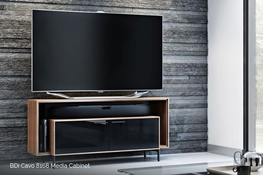 Smart home automation installation by Acoustic Architects. Smart media furniture by BDi and Salamander.