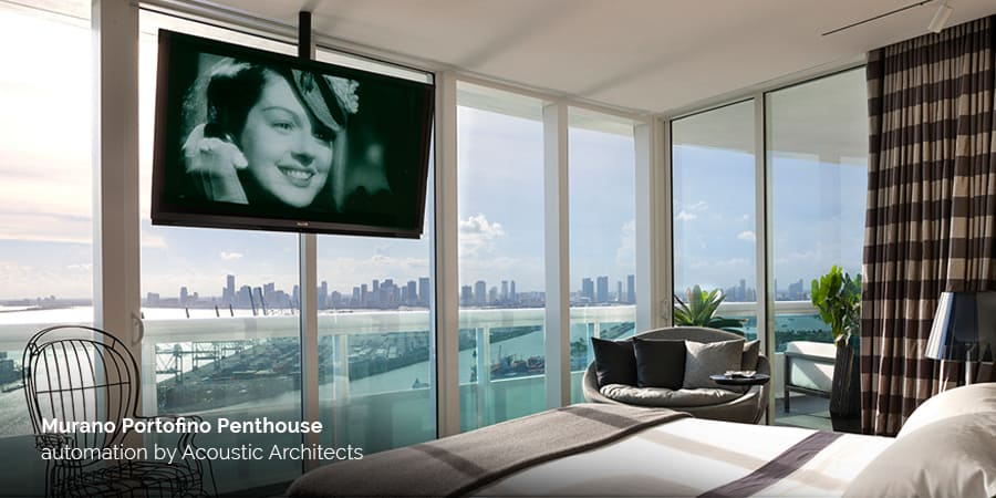 Murano Portofino Penthouse Miami South Point with home automation by acousticarchitects.net.