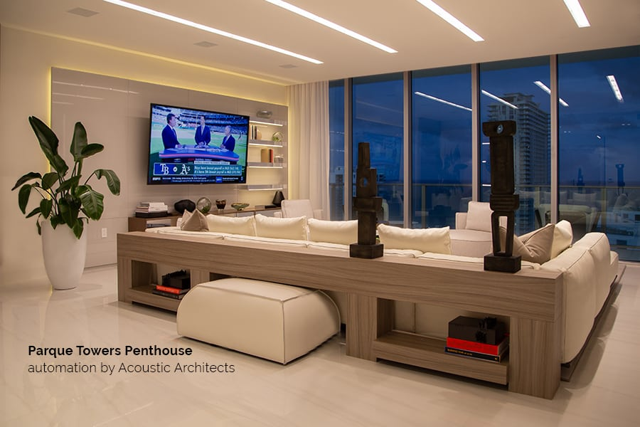 The Sunny Isles, South Florida, Parque Towers Residences offer incredible smart features for bespoke experiences. acousticarchitects.net
