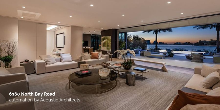 6360 North Bay Road designed with the latest in smart home automation technology by acousticarchitects.net.