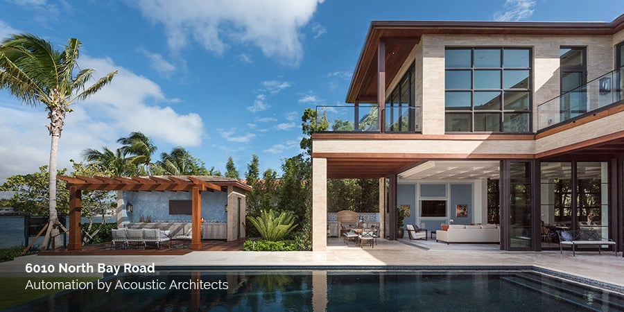 6010 North Bay Road, a case study on smart home luxury by Acoustic Architects, featuring bespoke Interior Design by To Better Days Development.