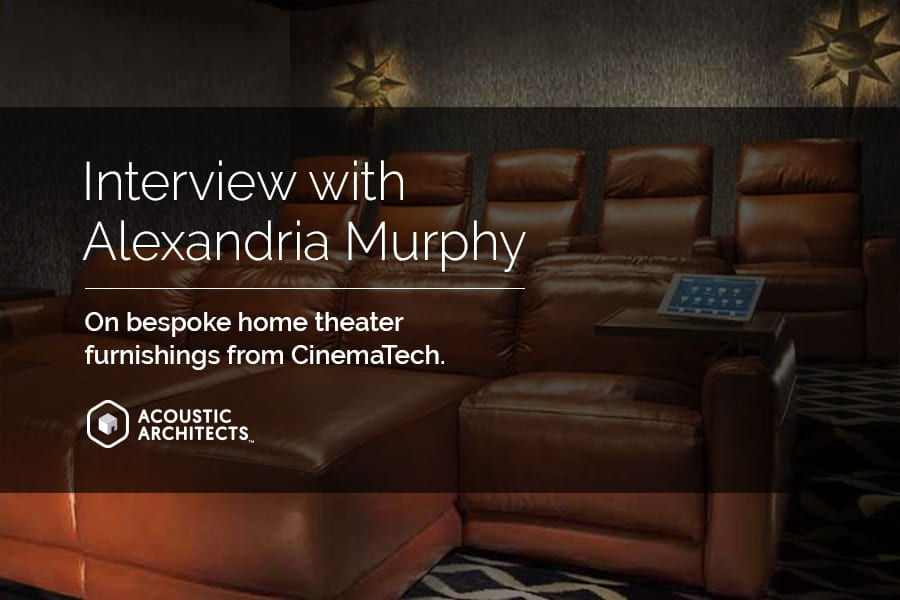 Gorgeous custom designed furniture for your smart home theater by CinemaTech, expertly integrated by Acoustic Architects.