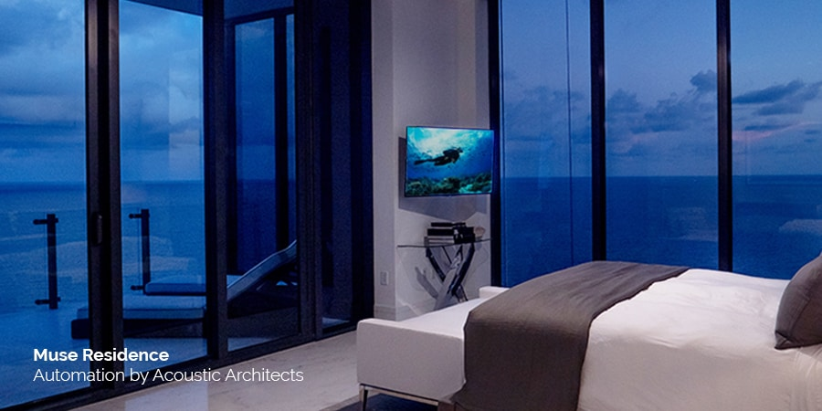 Miami's Muse high rise Residences, designed by Carlos Ott, with smart home technology, including Savant, Sony, James Loudspeaker, Lutron, Sonance speakers, and Séura Mirror TVs, expertly integrated by Acoustic Architects.