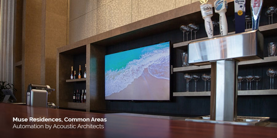 The Muse high rise, modeled after the twist of a lily, designed by architect, Carlos Ott, contains smart home automation technology such as Sony TV, Revel, Sonos, Savant, and Lutron, expertly integrated by Acoustic Architects.
