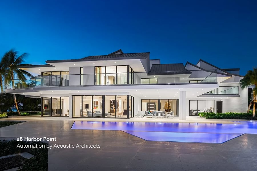 The Harbor Point, Miami, smart home with automation integrated by Acoustic Architects.
