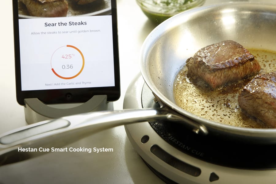 Become an expert chef with Hestan Cue's smart cooking system, including bluetooth, app, and recipes for your automated kitchen.