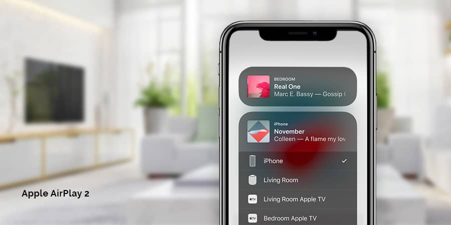 Multi-room streaming with Apple AirPlay 2 for Apple TV and more; expertly integrated by Acoustic Architects.